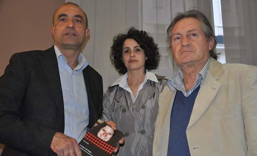 Pino Nazio con la figlia del brigadiere Santino Tuzi e Guglielmo Mollicone