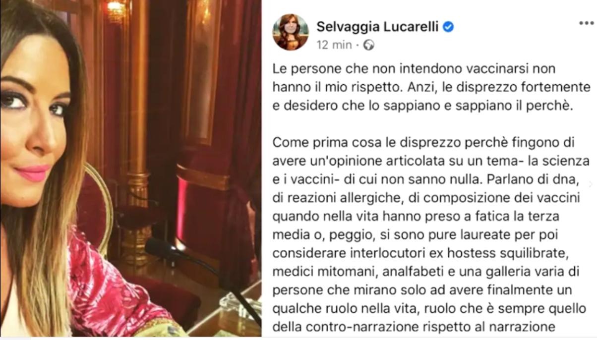 Il post di Selvaggia Lucarelli su Facebook