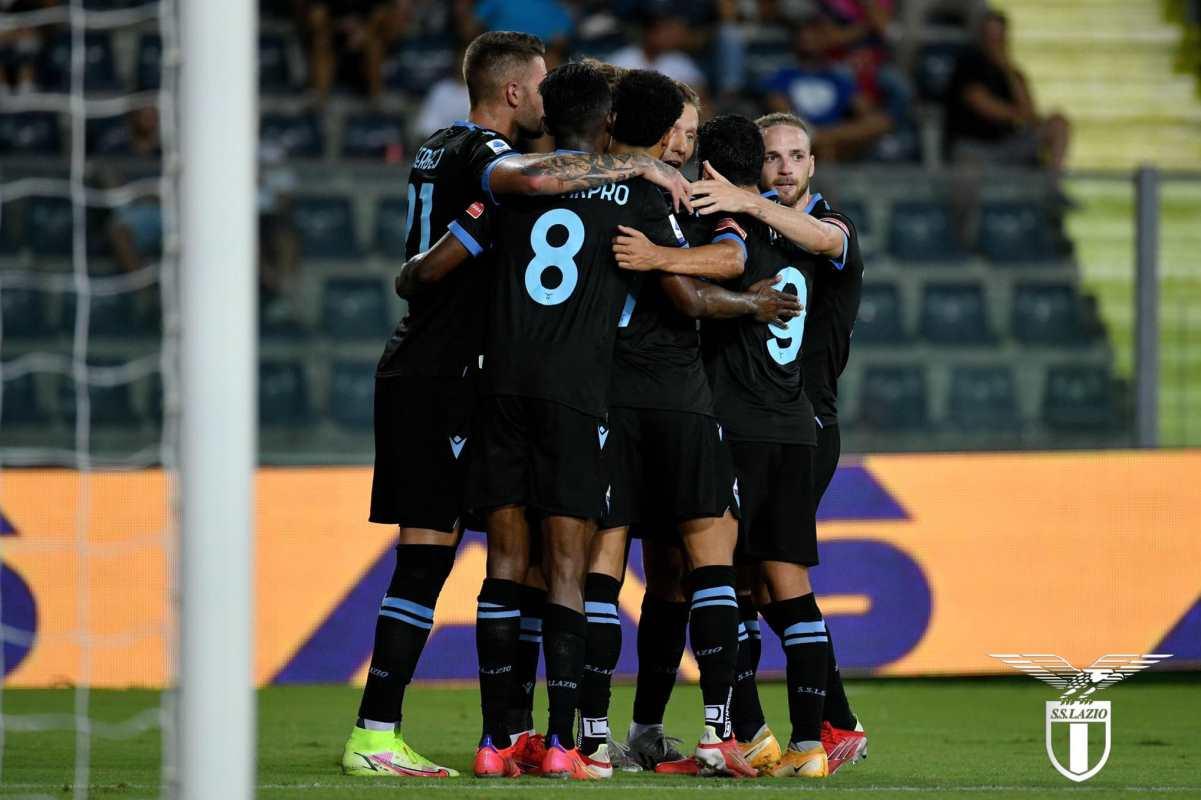 Esultanza Lazio dopo il gol contro l'Empoli